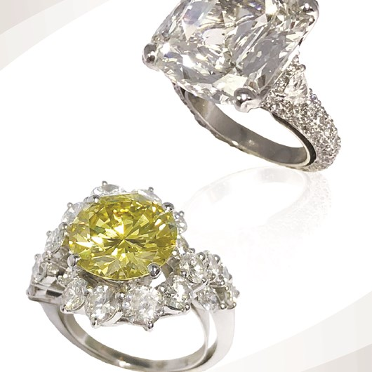 10.56 carat cushion cut diamond ring and 4.05 carat Fancy Yellow Intense diamond certified GIA naturel color ring