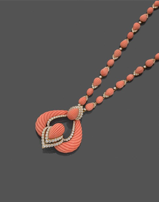 1960's Boucheron Coral , Diamond and Yellow Gold Pendant Necklace