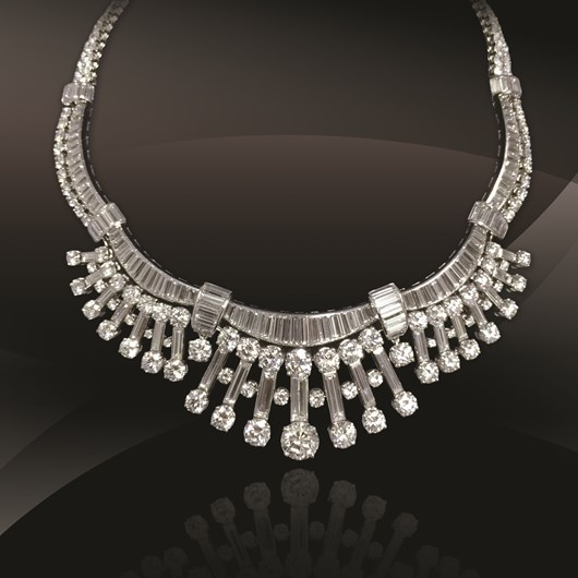 Diamond Platinum Gold Necklace     French, Circa1950