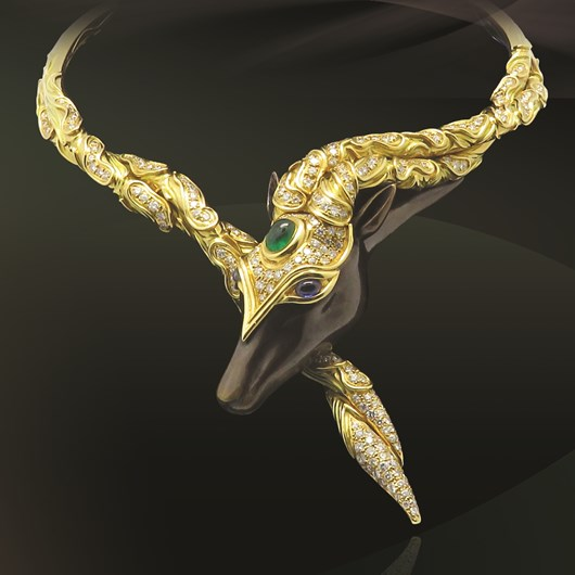 Pouliche necklace gold steel diamonds, emerald and sapphire Signed by Chaumet      Circa 1980