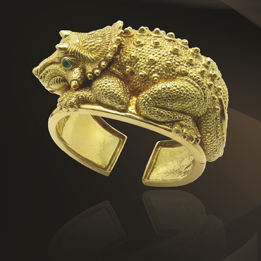 Triceratops Bracelet Gold Signed By David Webb   New York, Circa 1970