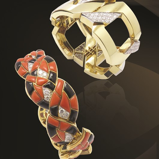 "David Webb Diamond Gold ""JUNO"" Bracelet and Bulgari Onyx Coral Diamond Gold Link Bracelet"