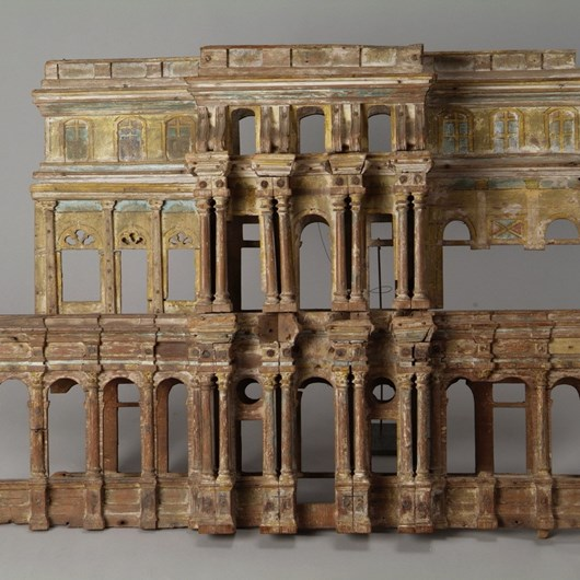 Rare and exceptional element of a polychrome wooden model, representing one of the facades of a disappeared temple, two-level architecture with colonnades and double pilaster with perspectives.