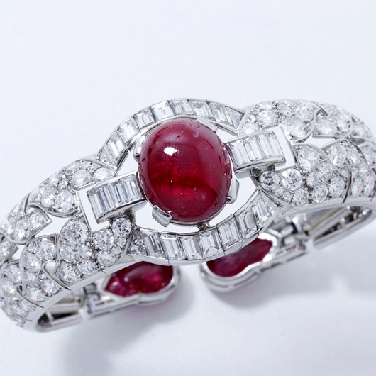 French Art Deco Certified Natural Burmese Ruby Diamond Platinum Bracelet