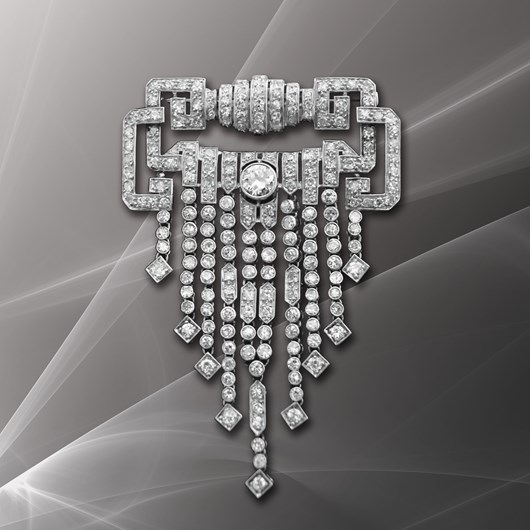 French Art Deco Diamond Platinum Waterfall Brooch