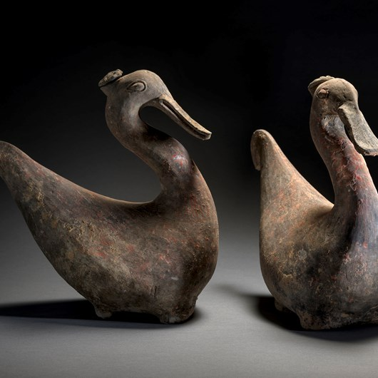 Pair of water birds (Spoonbills), as jars with stopper.