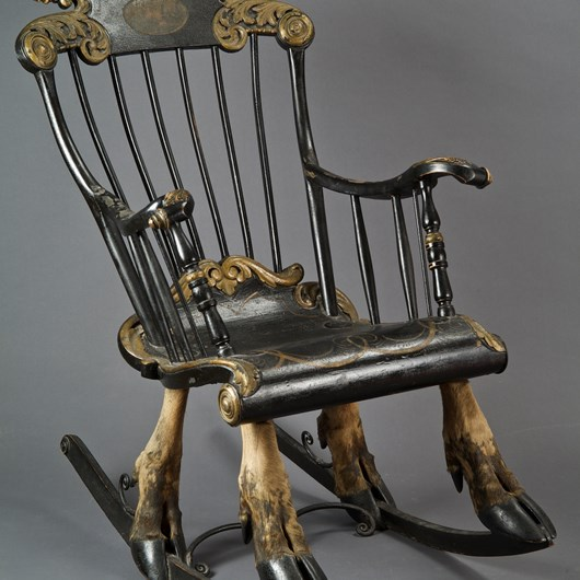Exceptional rocking armchair mounted on elk leg, sweden XVIII th