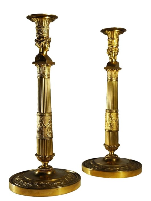 """Pair of candlesticks """"Josephine's bust"""" by Thomire"""