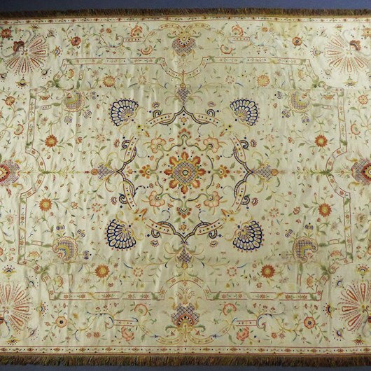 A Chinese / Macao Satin Embroidered Bedspread For Export To Europe Portugal Circa 1780/1810